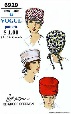 VISOR Cap Hat Fabric Sewing Pattern Designer HALSTON VOGUE # 6929 Millinery 23""