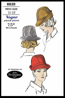 Hat Fabric Sewing Pattern VOGUE 6020 Designer JOHN FREDERICS FEDORA Chapeau 21.5