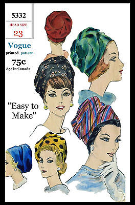 #5332 VOGUE Hat BIAS Turban Fabric Sewing Turbante Cancer Chemo Alopecia