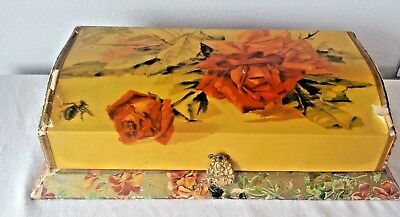 """ANTIQUE Victorian CELLULOID Dresser VANITY BOX FLOWERS Roses Large 13.5"""""""