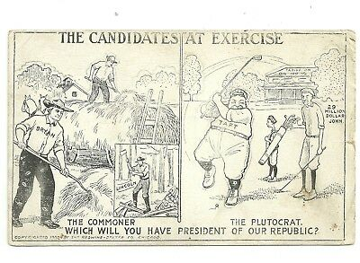"Rare 1908 President ""Taft"" Golf Political Postcard / The Candidates At Excercise"