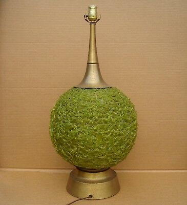 Vintage Mid Century Modern Lucite Spaghetti Spun Green Table Lamp 3 Way Bulb