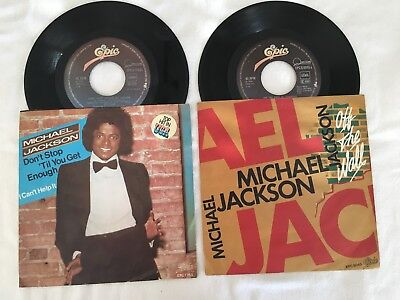 "2 Singles Michael Jackson: ""Don't stop.../ Off the Wall"". Mit Cover. Gut."