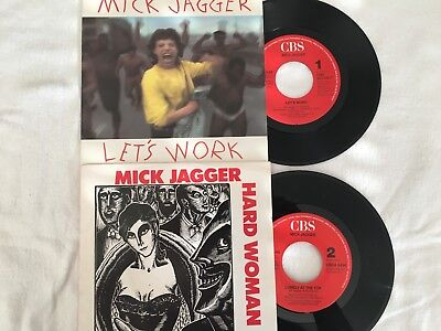 "2 Singles Mick Jagger: ""Hard Woman / Let's work"". Mit Cover. Sehr Gut."