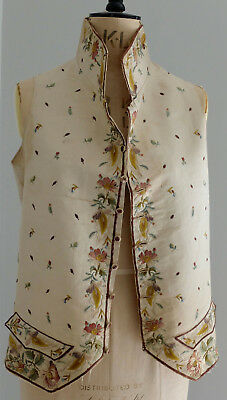 Antique 18th century silk embroidered waistcoat from France -