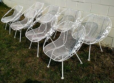 8 Russell Woodard Rare Iconic Sculptura Patio Chairs Mid Century