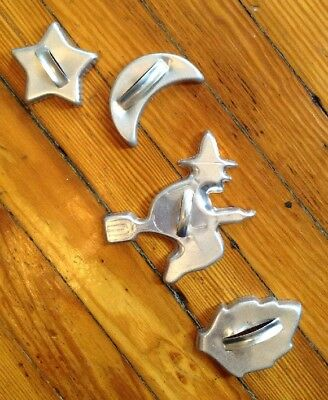 VINTAGE ALUMINUM STRAP HANDLE COOKIE CUTTER -Hard-to-Find Halloween Witch, Moon+