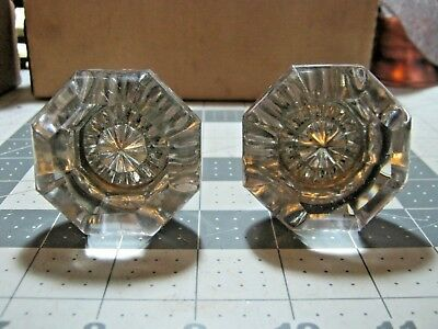 2X Vintage GLASS DOOR KNOB complete with spindle and thumb turn