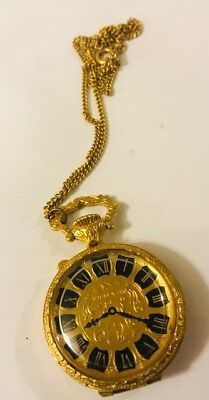 """FULL~ 1974 ESTEE LAUDER YOUTH DEW ~POCKET WATCH PENDANT"""" Solid Perfume Compact"""