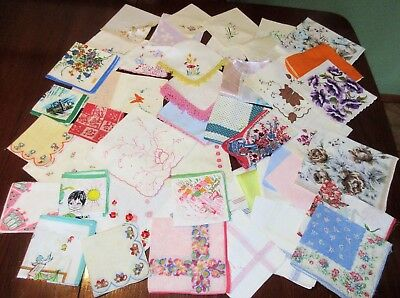 51 Vintage Hankies Cutter Craft Flaws  Floral ,Tatted , Embroidered , Appliques