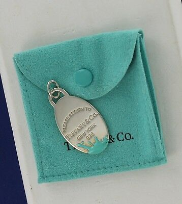 Large Return To Tiffany & Co. 925 Sterling Silver Color Splash Oval Tag Charm