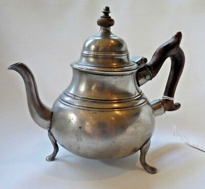 Rare 18th-Century Footed Pear-Shaped Pewter Teapot by Samuel Ellis, London