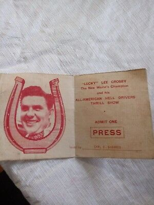 Vintage 1920's All-American Hell Drivers Thrill show Press Pass