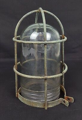 Vtg Antique Industrial Barn Light Cage and Globe R&S Russell & Stoll Steampunk