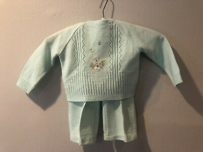 A LITTLE ANGEL VTG Infant Two Piece Knitted Acrylic Green Sweater Pants 18 mo