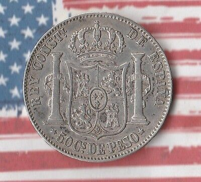 1885 Philippines 50 Centimos- 83.5% Silver- Nice Coin!