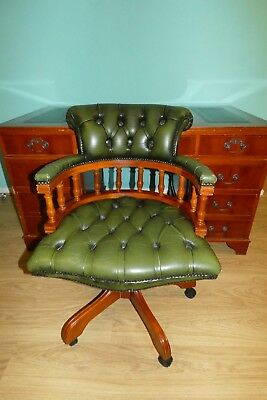 Antique Edwardian Mahogany Twin Pedestal Captains Desk With Green Leather Top