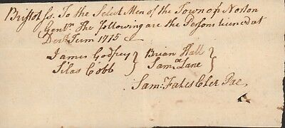 1775 FOUR OF DIGHTON<Who Were> Appropreated For NORTON License's