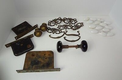 Vintage Door Plates Handles Knob Yale Porcelain Architectural Salvage Lot Mixed