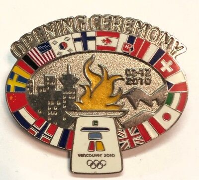 2010 Opening Ceremony Vancouver Olympics Sliver Tone Lapel Pin w/Flags