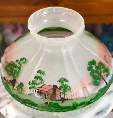 Vintage Hand Painted Glass Aladdin Oil Lamp Shade Log Cabin