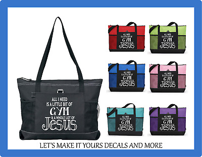 All I Need Is A Little Gym & A Lot Of Jesus Custom Tote Sports Diaper Bag Purse
