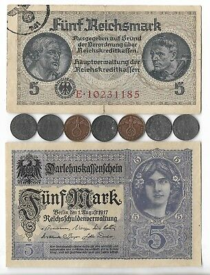 German Rare Very Old WWI WWII Germany War Note Coin WW2 Great Big Collection Lot