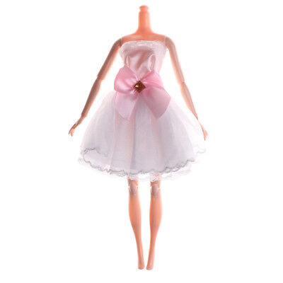 Handmade White Beautiful Doll Dress For Doll Party Wedding Clothing XC
