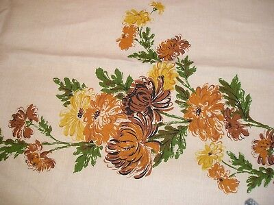 Vintage Fall Linen Tablecloth, Linen color with Fall mums EUC 56x100 in. Autumn