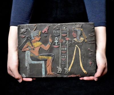 ANCIENT ANTIQUE Egyptian plaque Seti I Getting Gifts Stela Relief 1323-1279) BC