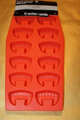 """CELEBRATE IT! HALLOWEEN Silicone Treat Mold """"FANGS"""" Holds 12 Cavities  - NEW!"""