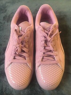 7b6621869d46 PUMA SUEDE JELLY Womens Trainers Lace Up Shoes Pink Leather 365859 ...