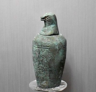 ANCIENT ANTIQUE Egyptian metal son of Horus Canopic Jar Qebehsenuef 1500–300 BC
