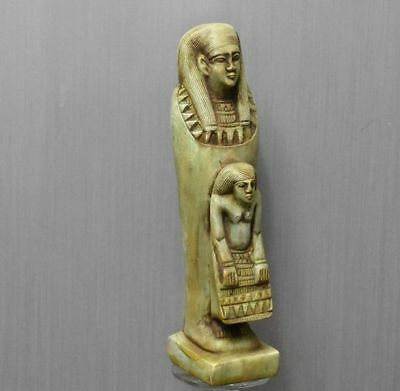 ANCIENT ANTIQUE Egyptian stone ushabti of woman and her son (1500–300 BC