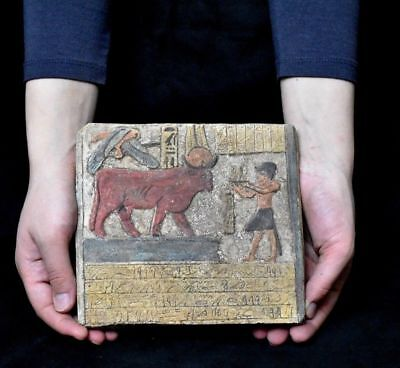 ANCIENT ANTIQUE Egyptian plaque Hathor as a cow Stela Relief (1500-1100 BC
