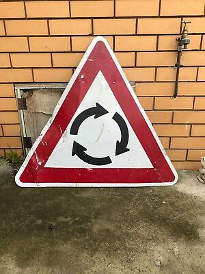 Roundabout Old Road Sign Vintage Pool Room Obsolete