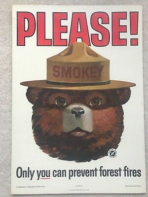 ORIGINAL VINTAGE 1964 SMOKEY BEAR USFS FOREST FIRE PREVENTION POSTER Excellent