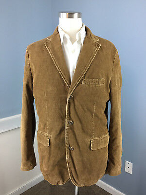 J Crew Vintage Cord brown Sport Coat Jacket mens L two button 100% cotton