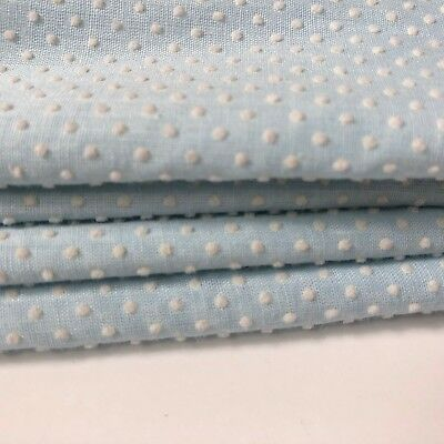 "2 yds 44"" w Powder blue vintage DOTTED SWISS fabric, cotton blend"