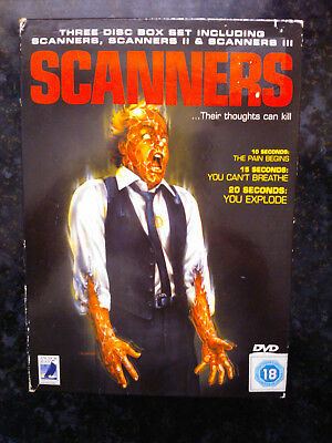 SCANNERS TRILOGY 1 2 3 Complete Collection R2 DVD Box Set David Cronenberg RARE