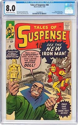 TALES OF SUSPENSE #48  CGC VF 8.0 - 1st NEW IRON MAN - JACK KIRBY COVER - 1963