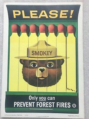 ORIGINAL VINTAGE 1963 SMOKEY BEAR USFS FOREST FIRE PREVENTION POSTER Excellent