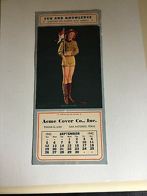 """BUELL"""" SALUTE TO YOU """"- SEP 1943  art  illustrated  PIN-UP """"patriotic""""  calendar"""
