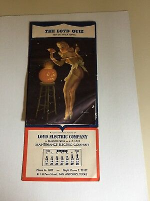 """BUELL"""" WHO'S AFRAID """"- OCT 1943  art  illustrated  PIN-UP/CHEESECAKE calendar"""