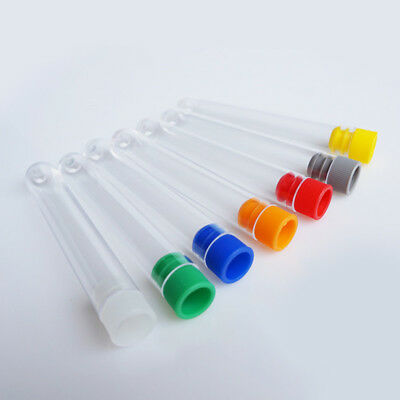 10Pcs Chemistry Plastic Test Tubes Vial Container Complete With Screw Seal Caps