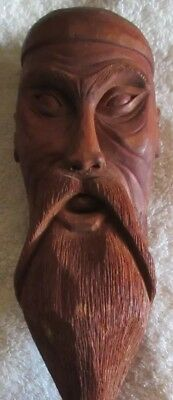 """WOOD carved figure Chinese Asian man 12"""" nice detail Signed by Artist"""