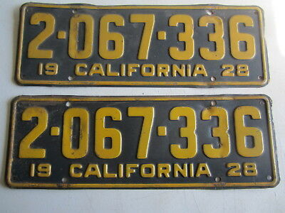 Pair 1928 California License Plates DMV Clear  Unrestored
