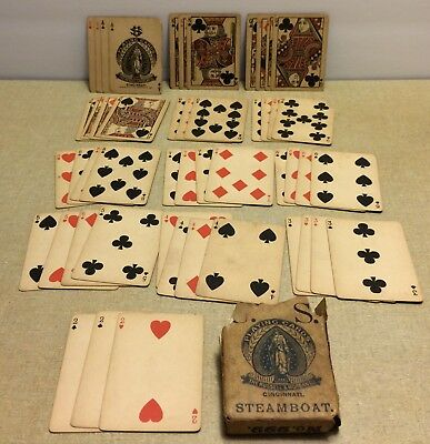 Antique Russell & Morgan Cin Oh Playing Cards Steamboats 999 Reg 1881 Double Hea