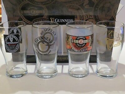 "4 Cool GUINNESS GLASSES ~ About 6.5"" Tall ~ Dublin, IRELAND Foreign Extra Stout"