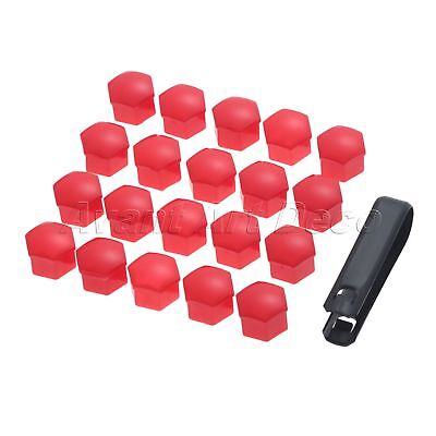 20Pcs Auto Car Red  Trim Wheel Nut Screw Bolt Covers Caps Removal tool 17mm